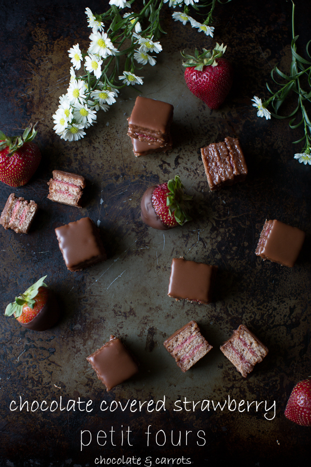 Chocolate Covered Strawberry Petit Fours | chocolateandcarrots.com
