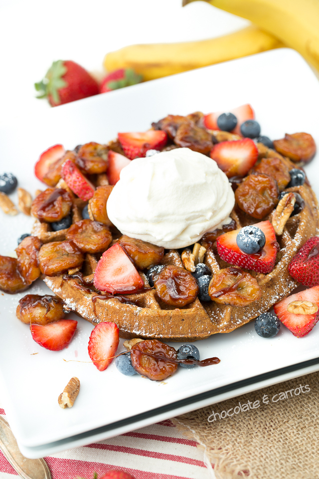 Banana Bread Waffles with Honey Caramelized Bananas | chocolateandcarrots.com