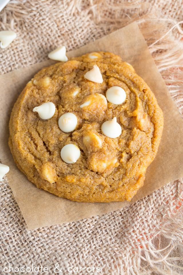 Chewy White Chocolate Pumpkin Cookies | chocolateandcarrots.com