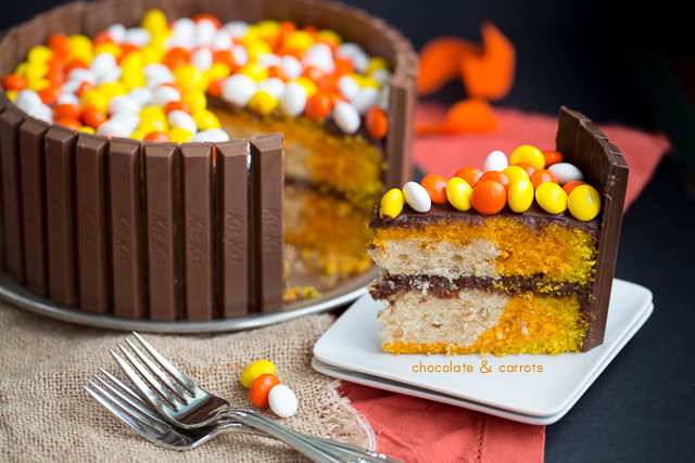 Colorful Autumn Candy Cake | chocolateandcarrots.com #halloween