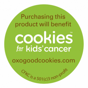 Cookies for Kids' Cancer label on OXO products