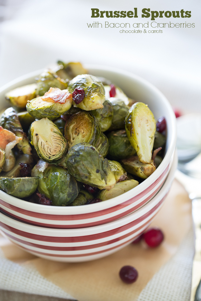Brussel Sprouts with Bacon and Cranberries | chocolateandcarrots.com #thanksgiving