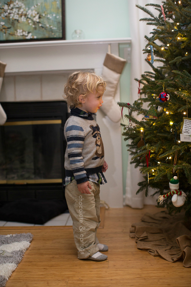 Liam Decorating the Christmas Tree 2014 | chocolateandcarrots.com