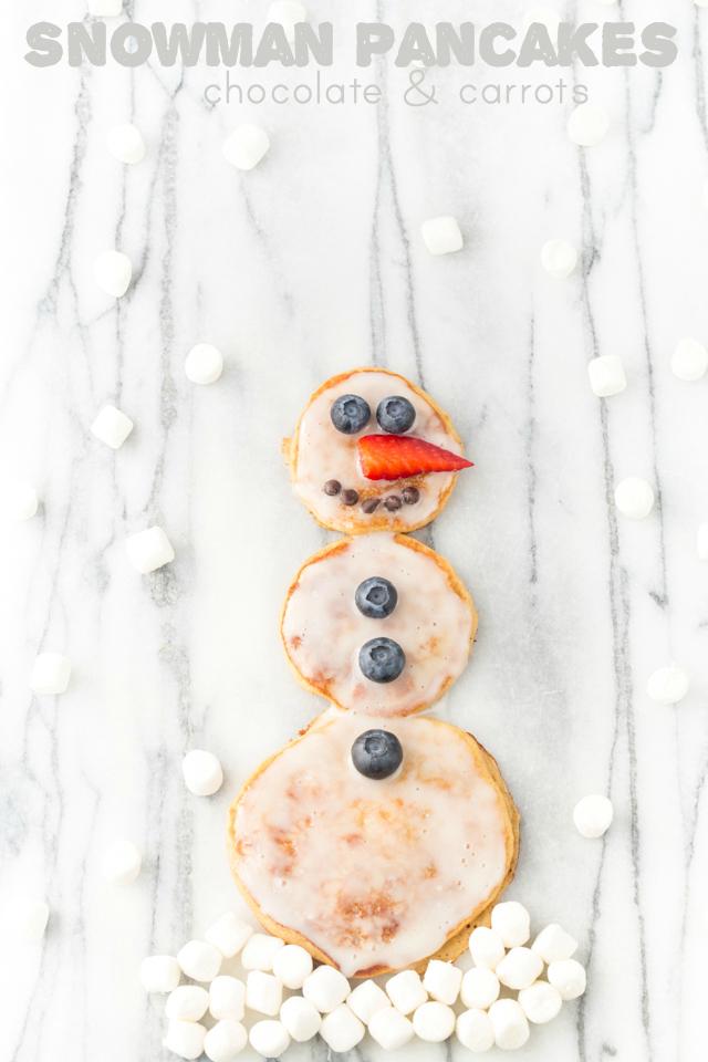 Snowman Pancakes | chocolateandcarrots.com #kidfriendly