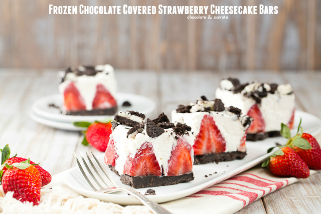 Frozen Chocolate Covered Strawberry Chesecake  chocolateandcarrots.com #nobake