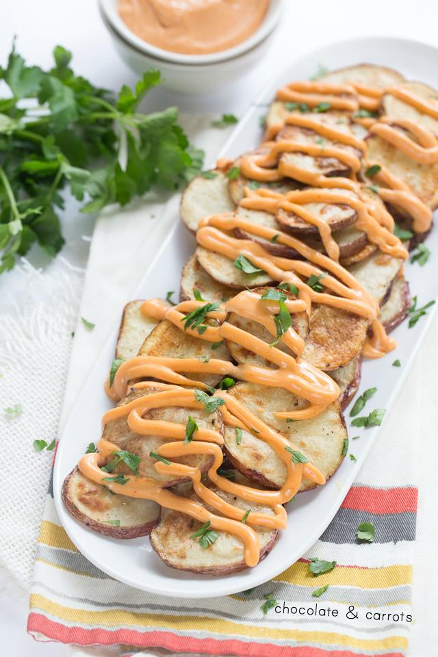 Roasted Potatoes with Sriracha Mayo | chocolateandcarrots.com