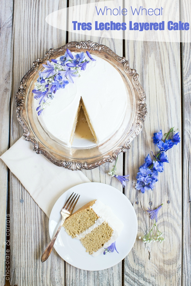 Tres Leches Layered Cake #wholewheat | chocolateandcarrots.com