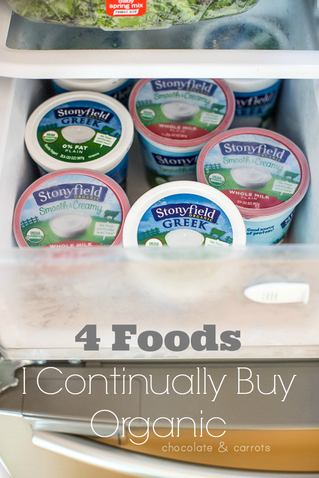 4 Foods I Continually Buy Organic | chocolateandcarrots.com #stonyfieldblogger #sponsored