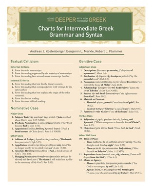 Charts for Intermediate Greek Grammar and Syntax (eBook)
