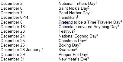Just In Case You Need More Reasons To Celebrate The Season Here Is A List Of Major Holidays With Few Lesser Known Ones Thrown For Fun