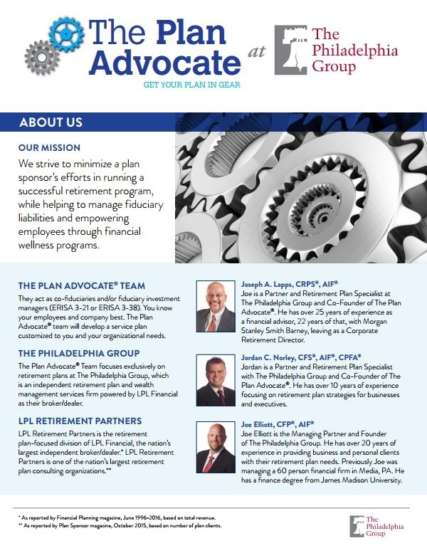 The Plan Advocate At The Philadelphia Group | About