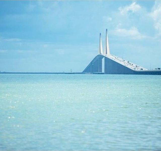 S K Y W A Y  V I E W S 🙌🏻 Who knew the @travelchannel ranked the Sunshine Skyway Bridge No. 3 on their