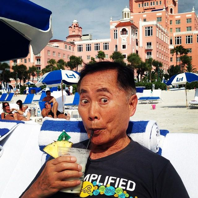 #OhMyyy Look who beamed onto the beach at #loewsdoncesar this weekend! Only THE #GeorgeTakei! He sure knows how to #LiveAmplified #LoveFL #VSPC #Pink #Beaches @CL_Tampa @tbtnewspaper @TB_Times #Trekkies #unclegeorge