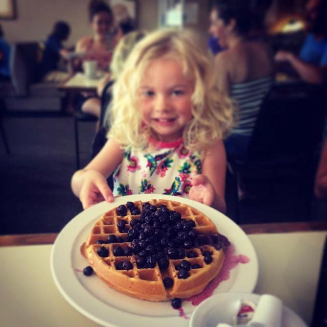 Thank you America.. I promised her waffles bigger than her head and you didn't disappoint.