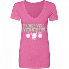 Drinks Well V Neck Pink
