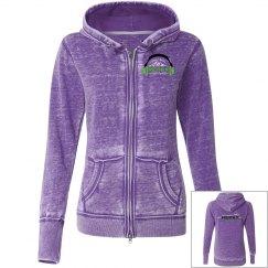 Juniors Purple Vintage Zip-Up Hoodie