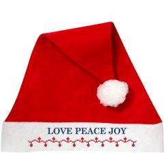 Love Peace Joy Santa Hat