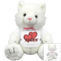 Red Hearts White Kitty