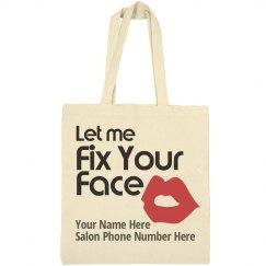 Let me Fix Your Face salon advertisement tote bag