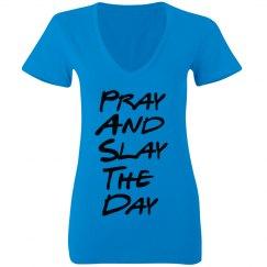 Pray and Slay V-Neck Neon Tee