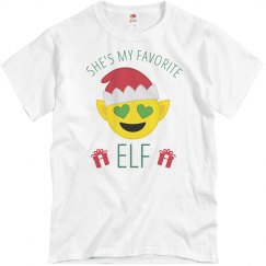 Favorite Emoji Elf Couple Pajamas 2
