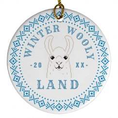 Custom Date Winter Wooly Land Llama