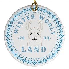 Custom Date Winter Wooly Land Llama