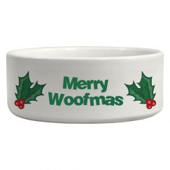 Merry Woofmas Dog Bowl (Green)