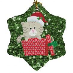 Cute Kitten w/Santa Hat in Gift Box