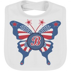 July 4th Butterfly Baby Bib