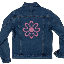 Pink Flower Denim Jacket