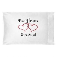 Two hearts pillowcase
