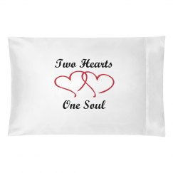 Two hearts pillowcase