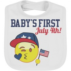 BabyBoy Emoji July 4th Baby Bib