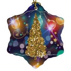 Glowing Christmas Lights Golden Christmas Tree Bokeh