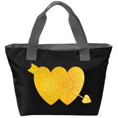 Gold Glitter Double Hearts Arrow