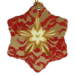 Red & Gold Floral Star