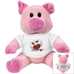 Love Hearts Pink Pig