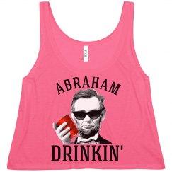 abraham lincoln drinkin' womens fashion crop top