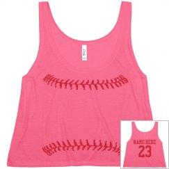 Softball Girl Neon Yellow Fashion Crop With Back