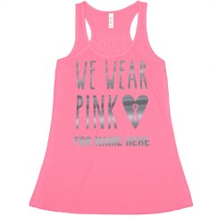 Silver Metallic Wear Pink Ribbon Crop