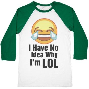 Emoji Laughing Funny LOL Quote Shirt Unisex 3/4 Sleeve Raglan T-Shirt: OCDesignzz