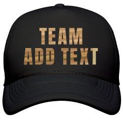 Custom Team Metallic Gold Text