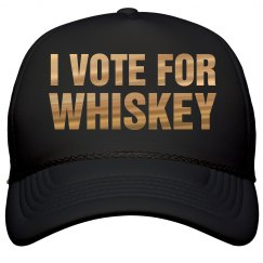 I Vote For Whiskey Metallic Text
