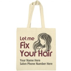Let Me Fix Your Hair salon promotional tote bag
