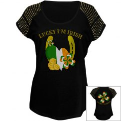 Lucky I'm Irish, beaded top