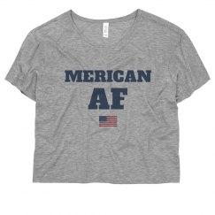 Merican AF USA Crop Tee July 4th