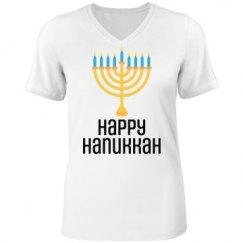 Happy Hanukkah Menorah Candles Lights Celebration