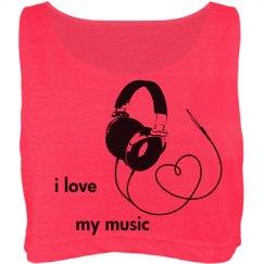 i love my music crop top