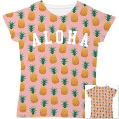 Cute Aloha Pineapple Print All Over